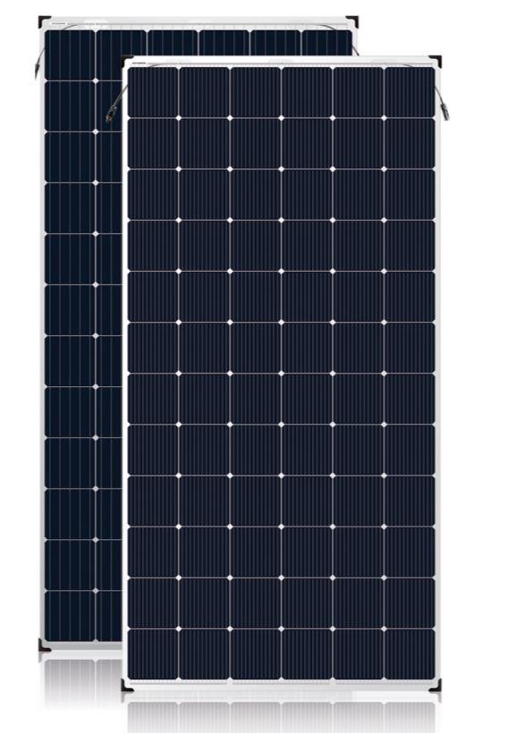 Bifaciales Solarmodul Vorder- und Rückseite